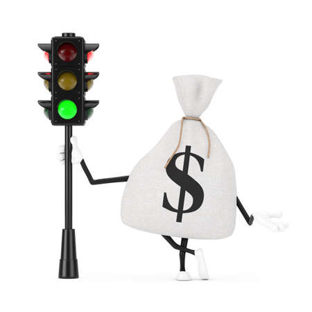Tied Rustic Canvas Linen Money Sack or Money Bag and Dollar Sign Character Mascot with Traffic Green Light on a white background. 3d Rendering