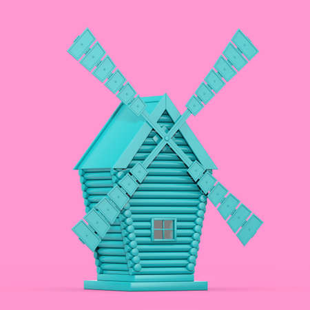 Old Blue Windmill Farm in Duotone Style on a pink background. 3d Rendering