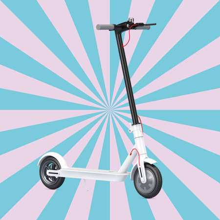 White Modern Eco Electric Kick Scooter on a Vintage Star Shape Pink and Blue background. 3d Rendering