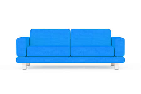 Blue Simple Modern Sofa Furniture on a white and yellow background. 3d Rendering