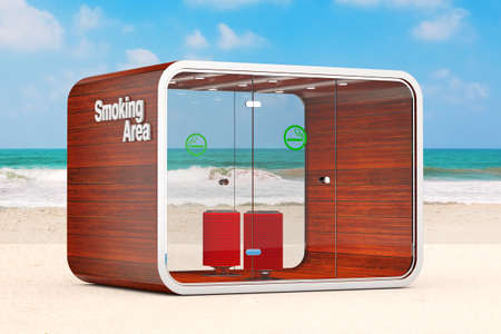 Smoking Booth. Special Room for Smokers. Smoking Area for Cigarettes, Tobacco, Vipes and E-cigarettes on the Ocean or Sea Sand Beach extreme closeup. 3d Rendering