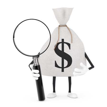 Tied Rustic Canvas Linen Money Sack or Money Bag and Dollar Sign Character Mascot with Magnifying Glass on a white background. 3d Rendering