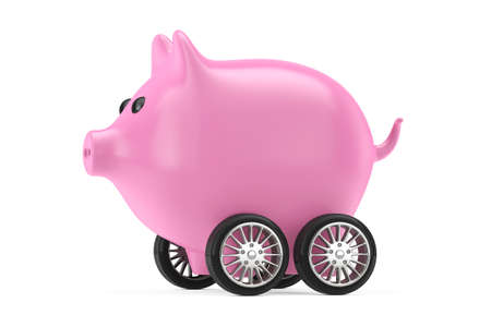 Pink Piggy Bank on Car Wheels on a white background. 3d Rendering
