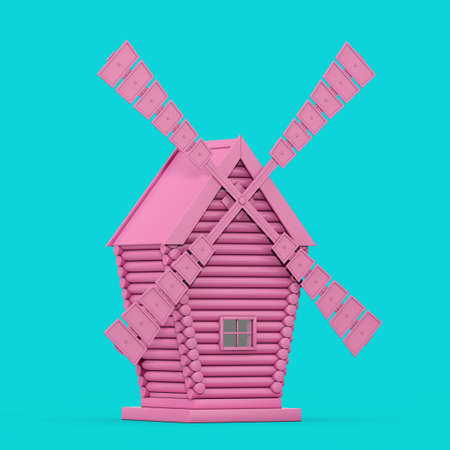 Old Pink Windmill Farm in Duotone Style on a blue background. 3d Rendering