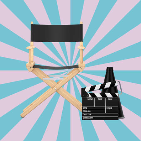 Director Chair, Movie Clapper and Megaphone on a Vintage Star Shape Pink and Blue background. 3d Rendering