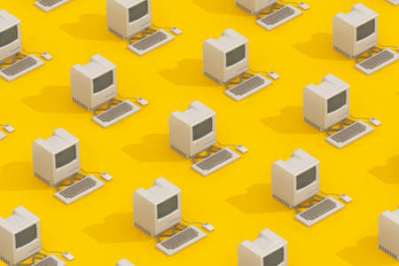 Rows of Retro Personal Computers in Isometric Style on a yellow background. 3d Rendering