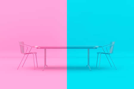 Confrontation Concept. Pink and Blue Chairs and Desk as Duotone Style in front of pink and blue background. 3d Rendering Imagens