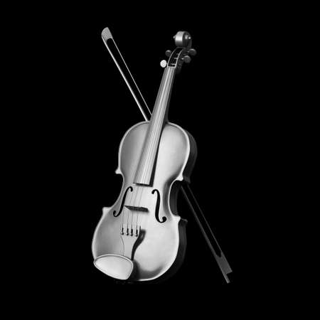 Classical  Silver Violin with Bow on a black background. 3d Rendering Imagens