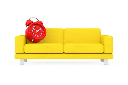 Red Alarm Clock with Yellow Simple Modern Sofa Furniture on a white background. 3d Rendering Imagens