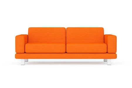 Orange Simple Modern Sofa Furniture on a white and yellow background. 3d Rendering