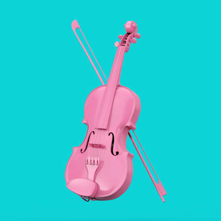 Classical Pink Violin with Bow in Duotone Style on a blue background. 3d Rendering Imagens