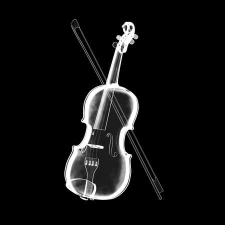 X-ray Image of Classical  Violin with Bow on a white background. 3d Rendering