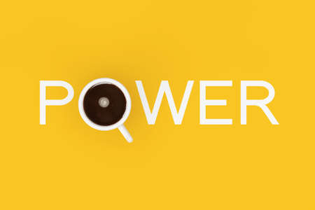 Cup of Black Coffe as Power Sign on a yellow background. 3d Rendering