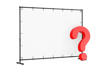 Blank Flag Banner with Red Question Mark on a white background. 3d Rendering