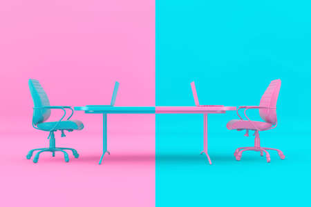 Confrontation Concept. Pink and Blue Boss Chairs, Laptops and Desk as Duotone Style in front of pink and blue background. 3d Rendering