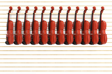 Rows of Vintage Red Wooden Violins for Sale Hanging on Shelf in Shop extreme closeup. 3d Rendering