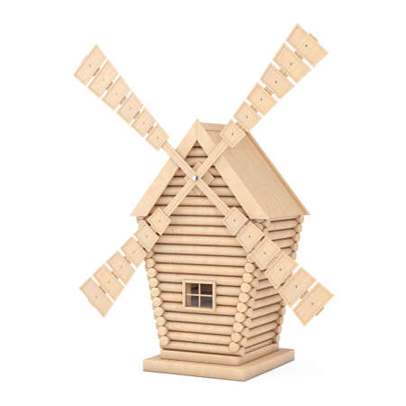 Old Wooden Windmill Farm on a white background. 3d Rendering