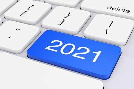 Blue 2021 New Year Key on White PC Keyboard extreme closeup. 3d Rendering
