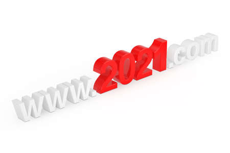 2021 New Year Concept. WWW 2021 Com Site Name on a white background. 3d Rendering