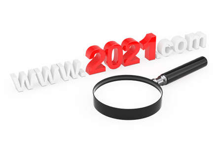 2021 New Year Concept. WWW 2021 Com Site Name with Magnifying Glass on a white background. 3d Rendering 免版税图像