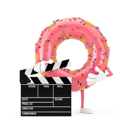 Big Strawberry Pink Glazed Donut Character Mascot with Movie Clapper Board on a white background. 3d Rendering