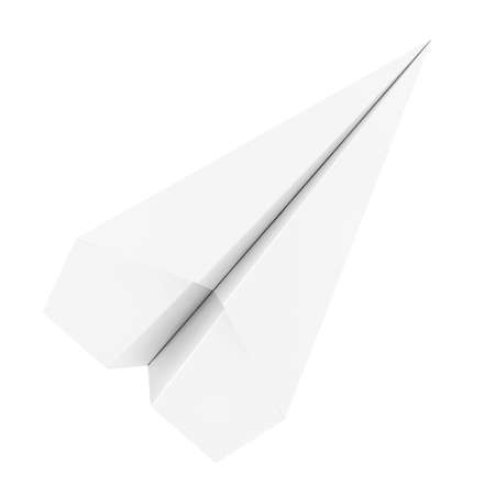 White Origami Paper Airplane on a white background. 3d Rendering