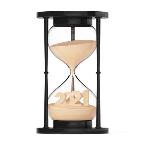 New 2021 Year Concept. Sand Falling in Hourglass Taking the Shape to 2021 year on a white background. 3d Rendering Banque d'images
