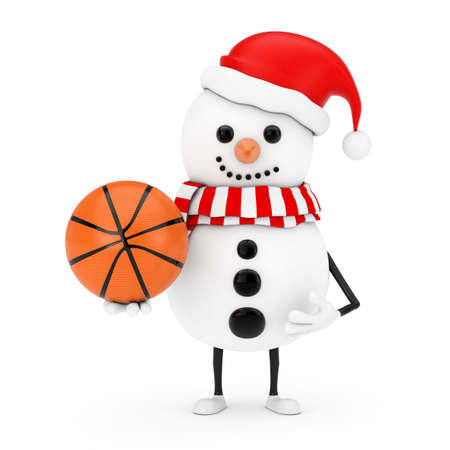 Snowman in Santa Claus Hat Character Mascot with Basketball Ball on a white background. 3d Rendering