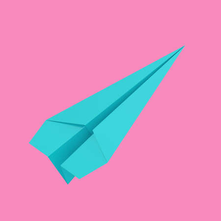 Blue Origami Paper Airplane in Duotone Style on a pink background. 3d Rendering