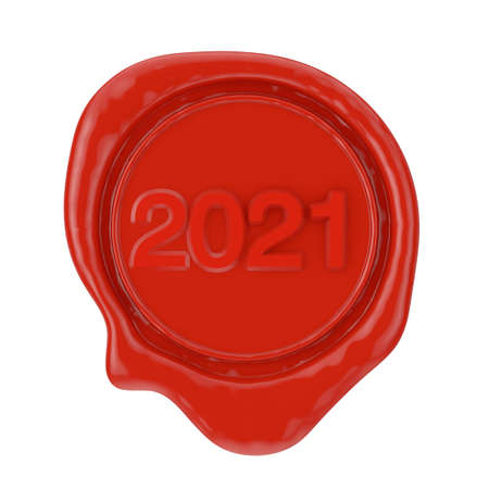 Red Wax Seal with 2021 New Year Sign on a white background. 3d Rendering Standard-Bild