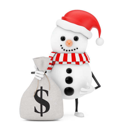 Snowman in Santa Claus Hat Character Mascot with Tied Rustic Canvas Linen Money Sack or Money Bag with Dollar Sign on a white background. 3d Rendering