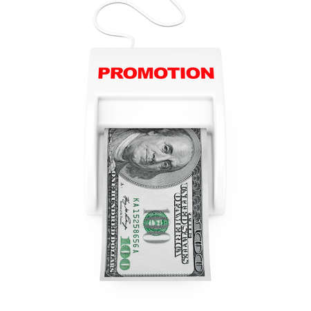 Make Money with Promo Concept. Money Maker Promotion Machine with Dollars Banknote on a white background. 3d Rendering