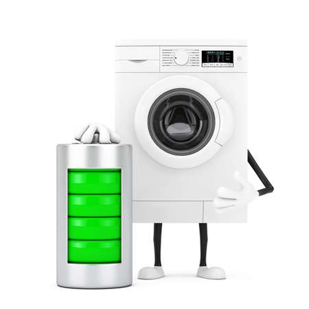 Modern White Washing Machine Character Mascot with with Abstract Charging Battery on a white background. 3d Rendering Stockfoto
