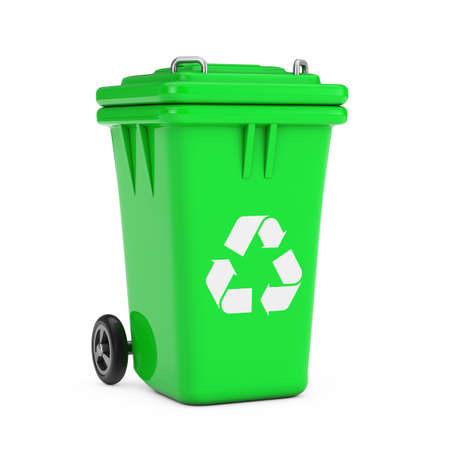 Recycle Sign Green Garbage Trash Bin on a white background. 3d Rendering Archivio Fotografico