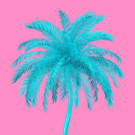 Blue Tropical Palm Tree in Duotone Style on a pink background. 3d Rendering Banco de Imagens