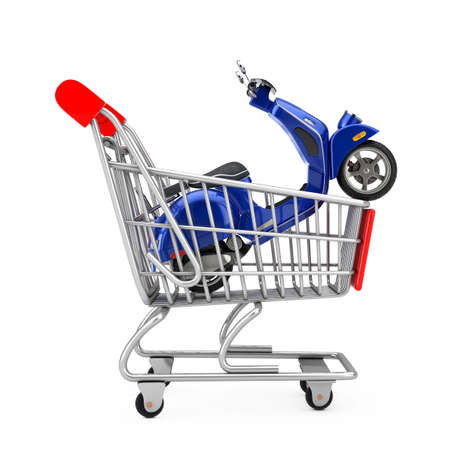 Blue Classic Vintage Retro or Electric Scooter in Shopping Cart Trolley on a white background. 3d Rendering