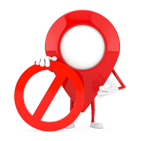 Map Pointer Pin Person Character Mascot with Red Prohibition or Forbidden Sign on a white background. 3d Rendering Banque d'images