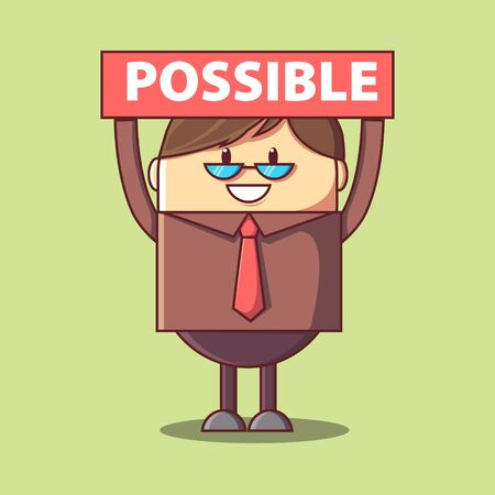 Businessman breaks off a piece of the plate with the word impossible and gets the word possible. Modern  illustration.