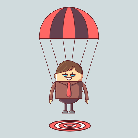 Businessman focused on a target with parachute - Business concept -  illustration