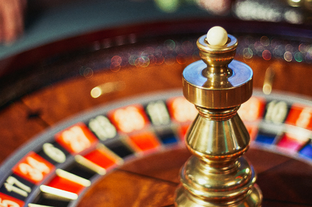 gambling counter: Roulette wheel stopped Stock Photo