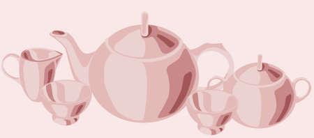 tea set: Tea set in vector illustration