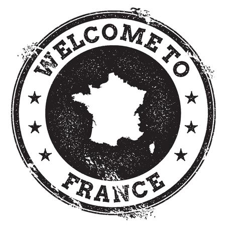 grunge rubber stamp: Vintage passport welcome stamp with France map. Grunge rubber stamp with Welcome to France text, vector illustration.