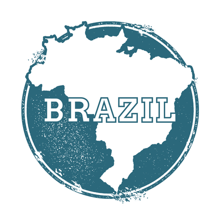 civilisation: Grunge rubber stamp with the name and map of Brazil, vector illustration. Can be used as insignia, logotype, label or badge vector design element. Illustration