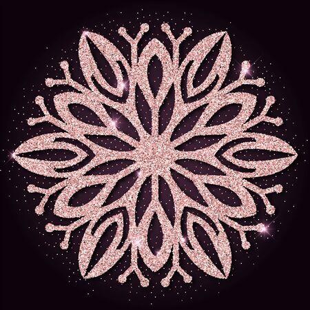 rejoicing: Pink golden glitter cool snowflake. Luxurious christmas design element, vector illustration. Illustration