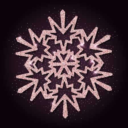 Pink golden glitter graceful snowflake. Luxurious christmas design element, vector illustration.