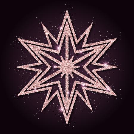 rejoicing: Pink golden glitter unusual snowflake. Luxurious christmas design element, vector illustration.