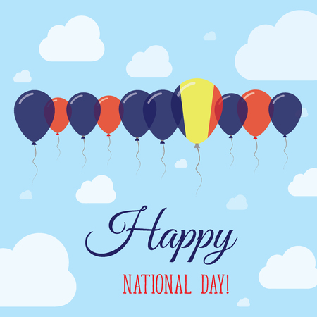 chadian: Chad National Day Flat Patriotic Poster. Row of Balloons in Colors of the Chadian flag. Happy National Day Card with Flags, Balloons, Clouds and Sky.