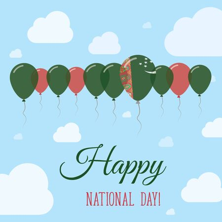 Turkmenistan National Day Flat Patriotic Poster. Row of Balloons in Colors of the Turkmen flag. Happy National Day Card with Flags, Balloons, Clouds and Sky. Illustration