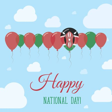 Kenya National Day Flat Patriotic Poster. Row of Balloons in Colors of the Kenyan flag. Happy National Day Card with Flags, Balloons, Clouds and Sky.
