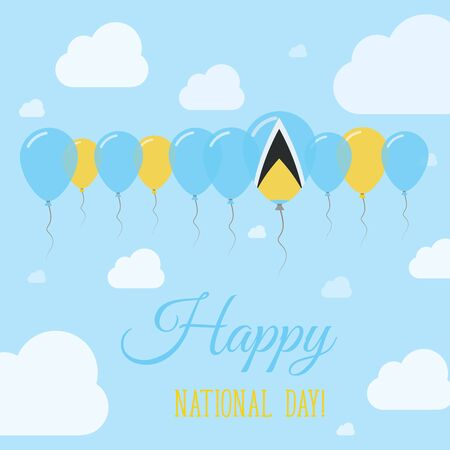 proclamation: Saint Lucia National Day Flat Patriotic Poster. Row of Balloons in Colors of the Saint Lucian flag. Happy National Day Card with Flags, Balloons, Clouds and Sky.